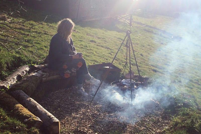 Safari tent firepit and BBQ area