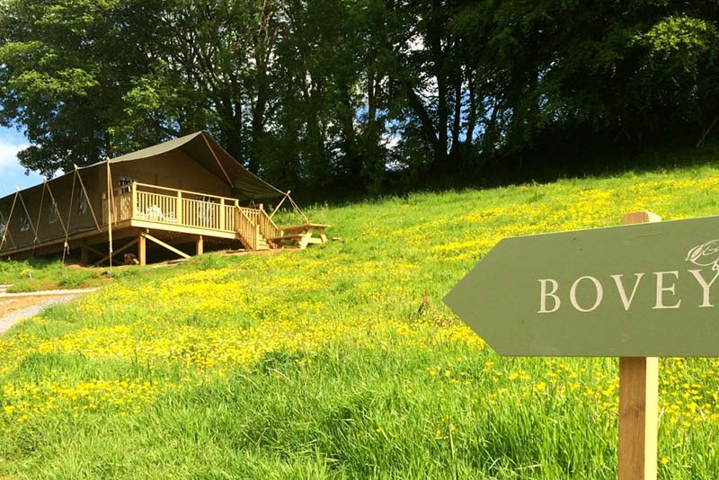 View of the 'Bovey' safari tent at Brownscombe in Devon