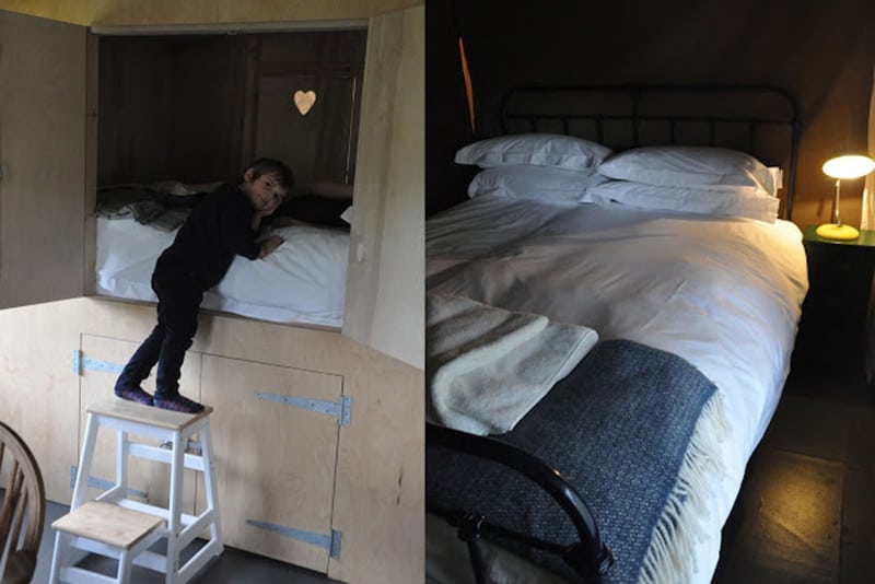 Cabin bed and double bed in the safar tents at Brownscombe glamping UK