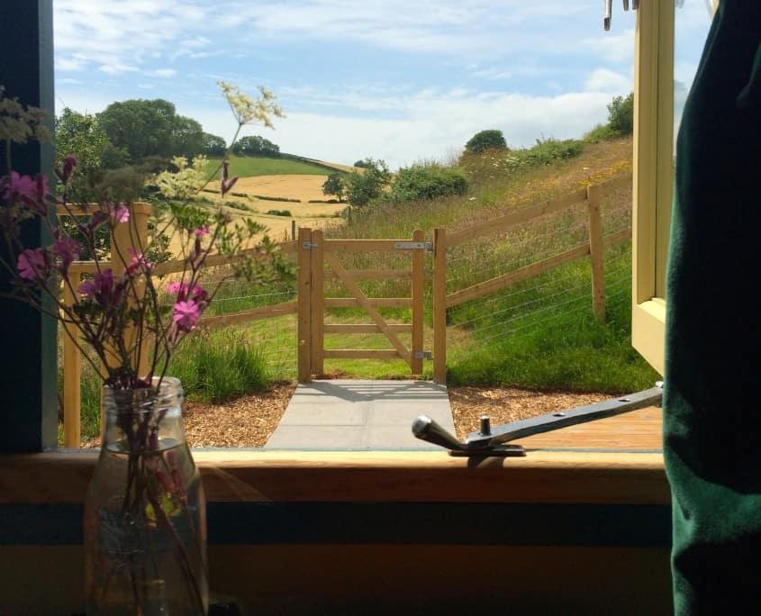 View from the Cornish Tabernacle at Brownscombe - the perfect romantic getaway for couples in Devon