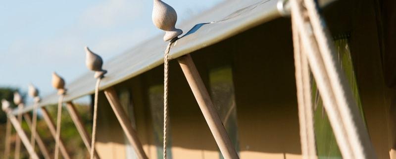A close up of a safari tent