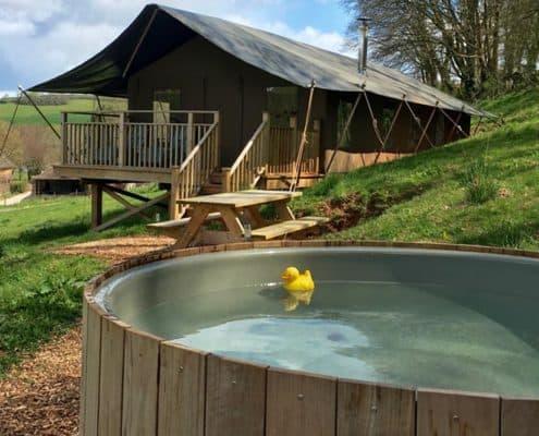 Tamar safari tent glamping uk with-hot tub
