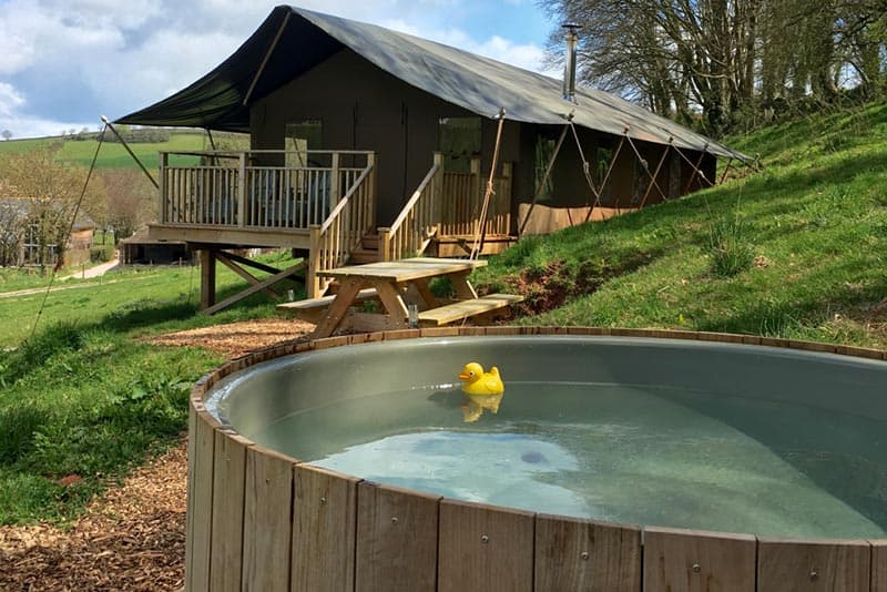 Tamar safari tent glamping uk with-hot tub