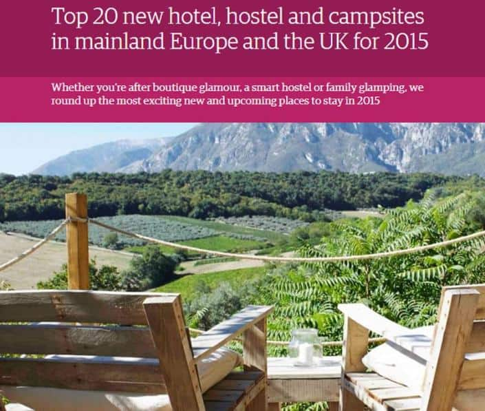 An image of The Guardian's '2015 top 20 new places to stay' article featuring Brownscombe Luxury Glamping