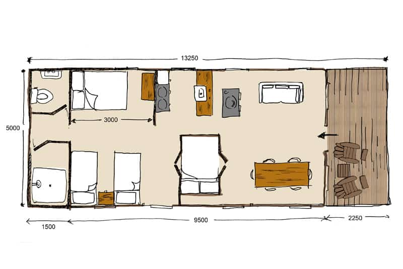 A floor plan showing the inside of the safari tents at Brownscombe Luxury Glamping in Devon