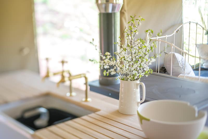 A close up of the hand built kitchens at Brownscombe Luxury Glamping in the South Hams