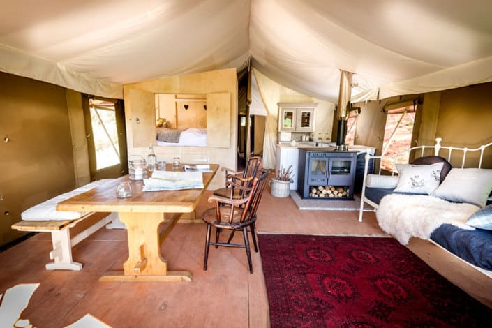 Inside one of the safari tents at Brownscombe Luxury Glamping in Devon