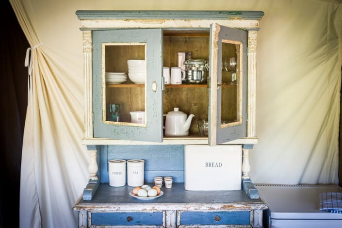 A beautiful kitchen dresser in the safari tents at Brownscombe Luxury Glamping in Devon