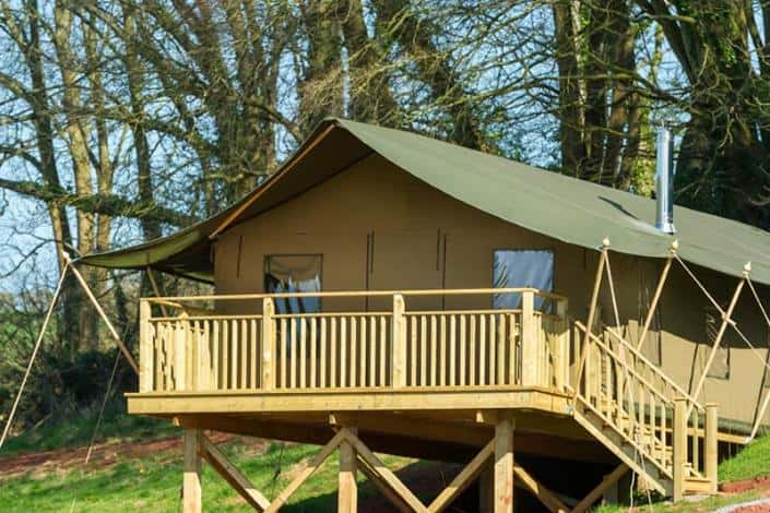 A safari tent at Brownscombe Luxury Glamping for families