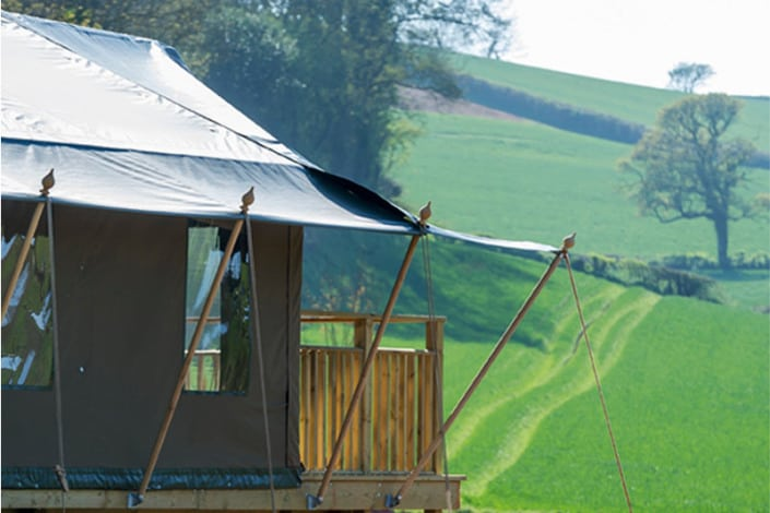 View from a safari tent at Brownscombe Luxury Glamping in Devon