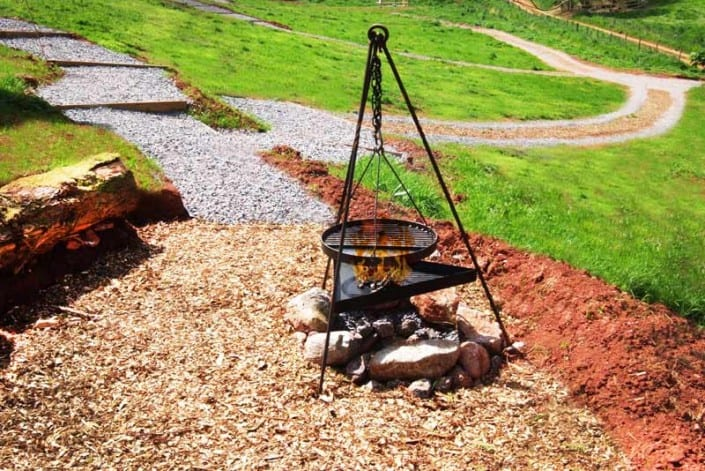 BBQ area with log seating