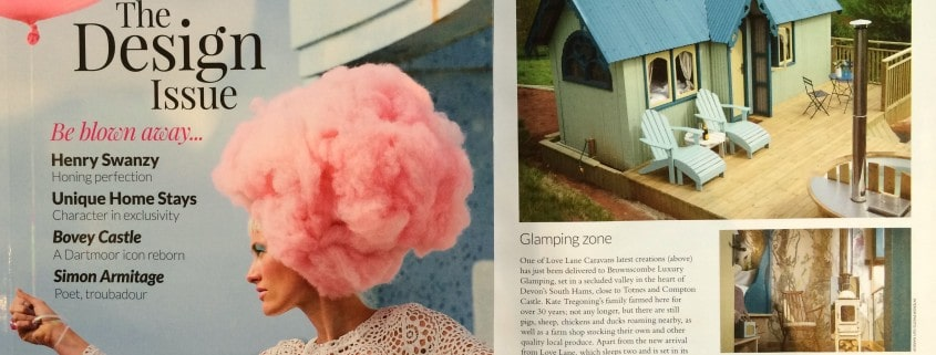 A feature in 'Manor' magazine, showcasing Brownscombe's luxury Tabernacle accommodation