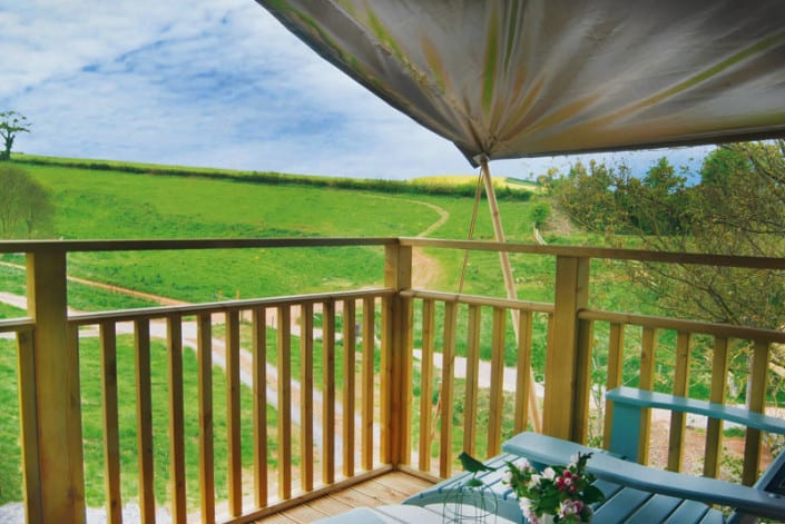 The view from 'Bovey', one of the safari tents at Brownscombe in Devon offering luxury family glamping holidays