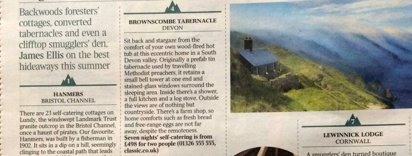 An article from 'Times2', featuring Brownscombe as one of the best wild places to stay in Britain