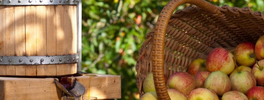A basket of apples, apple press and glass of apple juice.