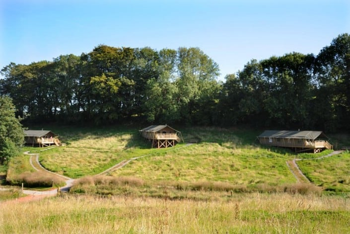 Safari tents, spaced 30m apart for privacy