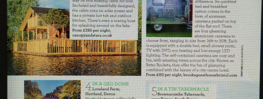 An article from 'Ideal Homes' magazine, names Brownscombe Tabernacle as one of 5 Extraordinary places to sleep this Summer