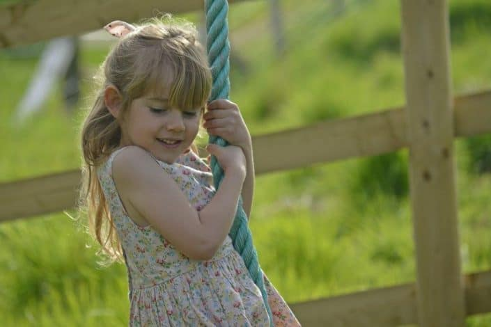 Rope swing in play area at Brownscombe