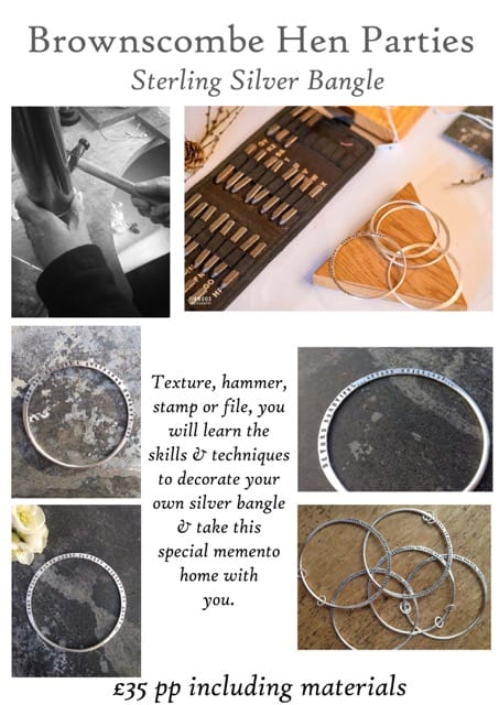 Sterling silver bangle workshops at Brownscombe Luxury Glamping UK