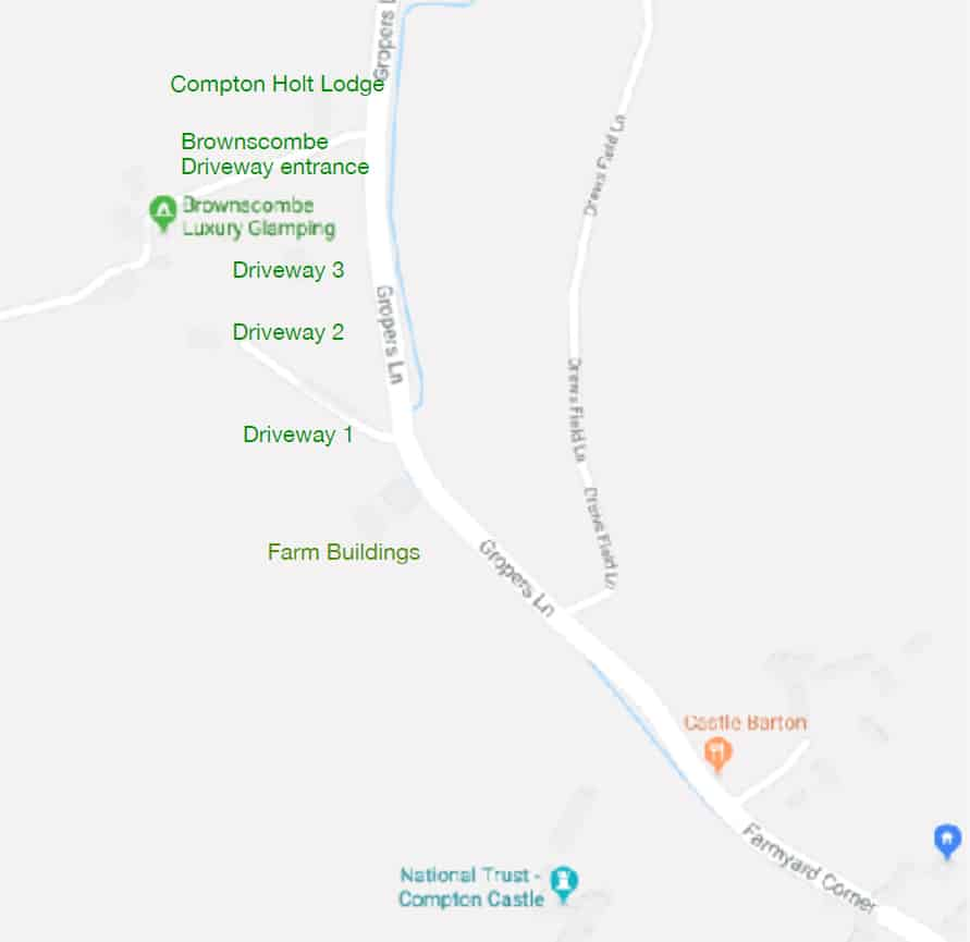 Map showing the entrance to Brownscombe Luxury Glamping in Devon