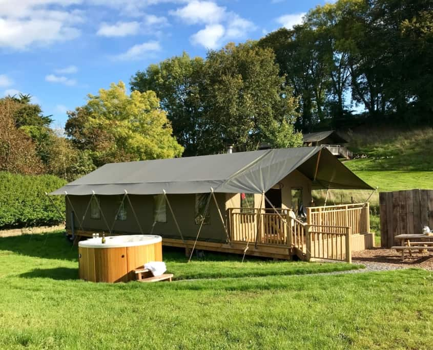 Safari Tent with electric hot tub available as an option